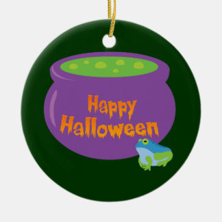 Happy Halloween Cauldron Round Ceramic Decoration