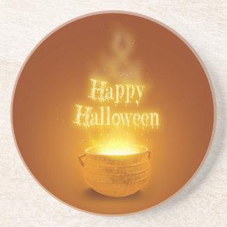Happy Halloween Cauldron - Sandstone Coaster