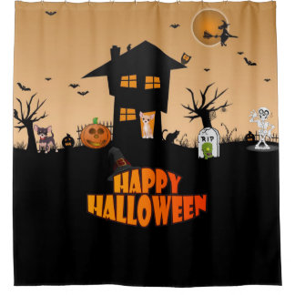 Happy Halloween Chihuahuas Shower Curtain
