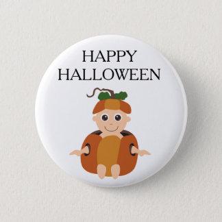 Happy Halloween Child in Pumpkin Button