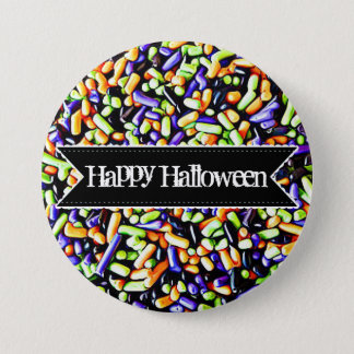 Happy Halloween Colorful Candy Sprinkles Button