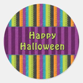 Happy Halloween - Colorful Striped Design Round Sticker