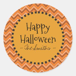Happy Halloween Colors Chevron. Classic Round Sticker
