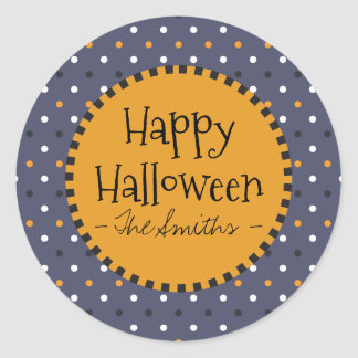 Happy Halloween Colors Polka Dots. Classic Round Sticker