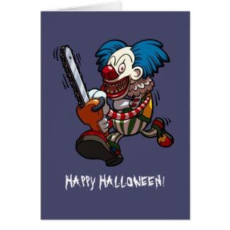 Happy Halloween Colourful Chainsaw Clown Cartoon Card