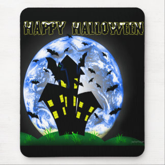 Happy Halloween Creepy Haunted House  Mousepad