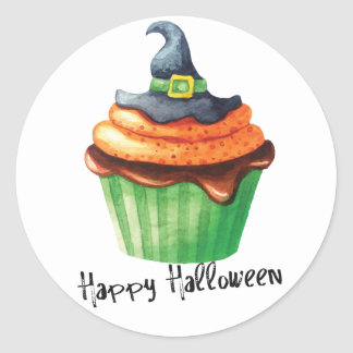 Happy Halloween cupcakes with witches hat Round Sticker