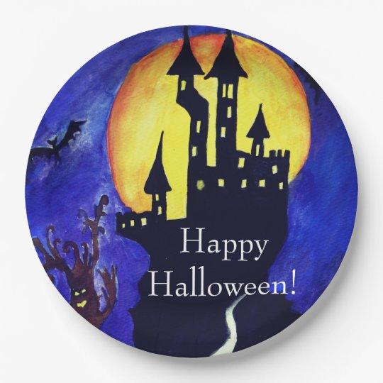 Happy Halloween Custom Paper Plates 9 in