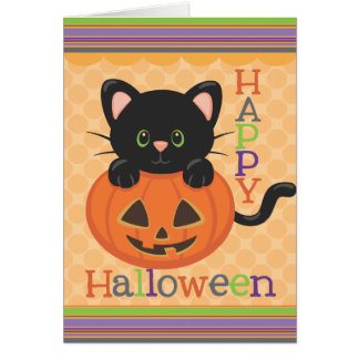 Happy Halloween Cute Cat Jack o' Lantern Greeting Card