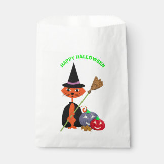 Happy Halloween Cute Cat Witch Favour Bags