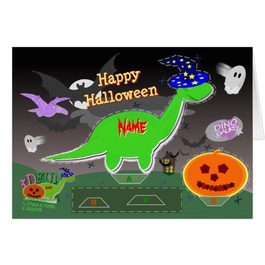 Happy Halloween Cute Dinosaurs 3D Cut & Fold