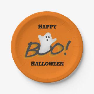 Happy Halloween Cute Ghost Word BOO!Orange Paper Plate