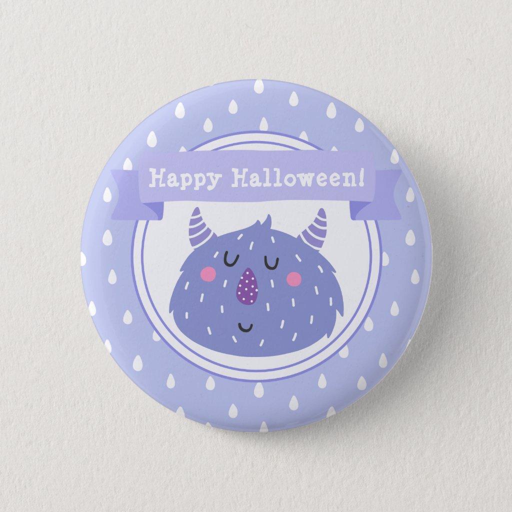 Happy Halloween! Cute Purple Monster 6 Cm Round Badge