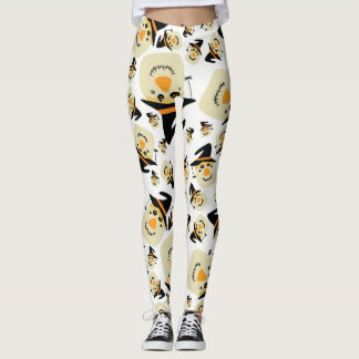 Happy Halloween Cute Scarecrow and Spider Leggings