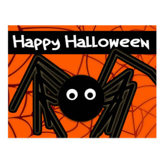 Happy Halloween Cute Spider Customizable Postcard