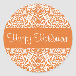Happy Halloween Damask Envelope Sticker Seal