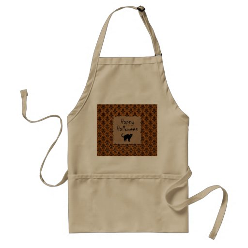 Happy Halloween Damask With Black Cat Apron