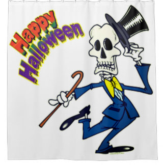 Happy Halloween Dancing Skeleton Shower Curtain