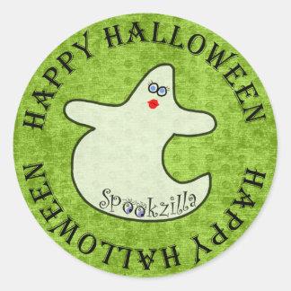 Happy Halloween Diva Ghost, Spookzilla on Green Round Sticker