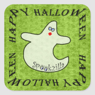 Happy Halloween Diva Ghost, Spookzilla on Green Square Sticker