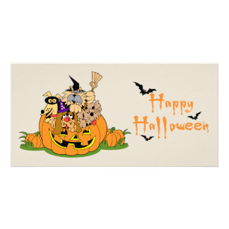 Happy Halloween Dogs In Pumpkin Card