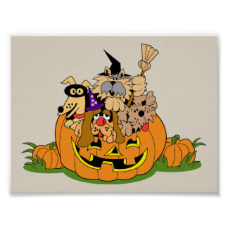 Happy Halloween Dogs In Pumpkin Poster