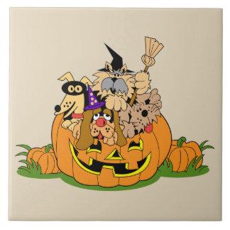 Happy Halloween Dogs In Pumpkin Tile
