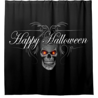 Happy Halloween Evil Skull Shower Curtain
