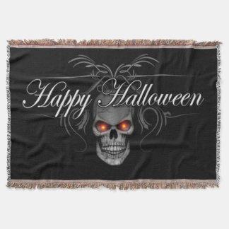 Happy Halloween Evil Skull Throw Blanket