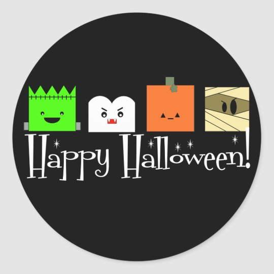 Happy Halloween Faces Classic Round Sticker