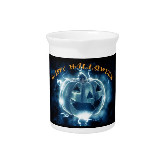 Happy Halloween fiery blue pumpkin Pitcher