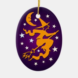 Happy Hallowe'en Flying Orange Witch Ornament