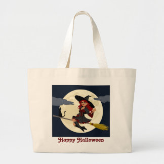 Happy Halloween Flying Witch Large Tote Bag