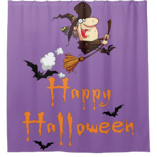 Happy Halloween Flying Witch Shower Curtain