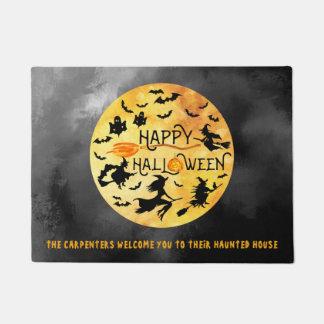 HAPPY HALLOWEEN, Flying Witches, Ghosts & Bats Doormat