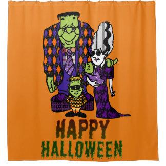 Happy Halloween Frankenstein Family Shower Curtain