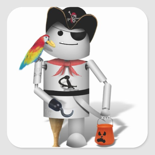 Happy Halloween from Capt. Robo+x9 Square Stickers