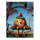Happy Halloween from Pumpkin on a Swing Postcard