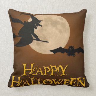 Happy Halloween; Full Moon and Witch Cushion
