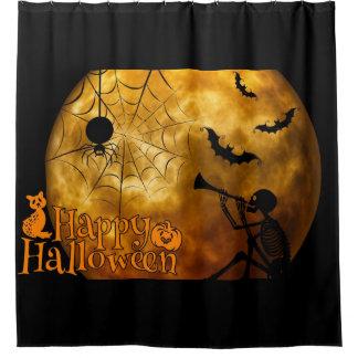 Happy Halloween Full Moon Shower Curtain