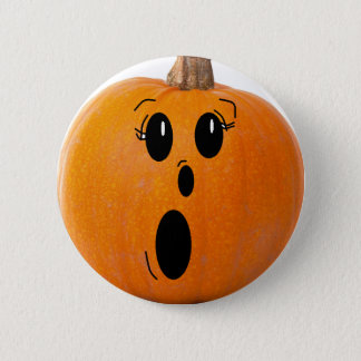 Happy Halloween Funny Face Pumpkin Button