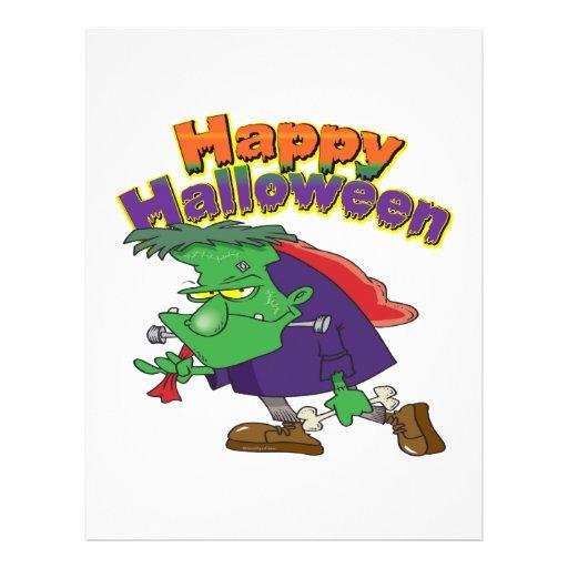happy halloween funny frankenstein cartoon 21.5 cm x 28 cm flyer
