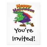 happy halloween funny frankenstein cartoon invitation