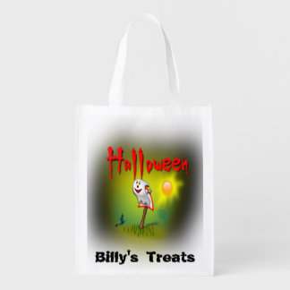 Happy Halloween Ghost Customise your Child's Name Reusable Grocery Bag
