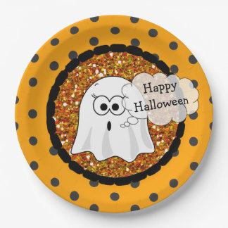 Happy Halloween Ghost Orange Paper Plates