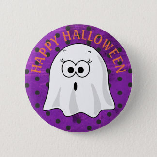 Happy Halloween Ghost Orange Polka Dot Button