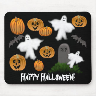 Happy Halloween Ghosts Pumpkins Mousepad