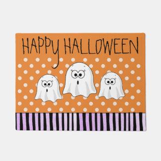 Happy Halloween Ghosts Purple Orange Door Mat