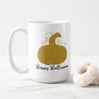 Happy Halloween Gold Glitter Pumpkin Coffee Mug