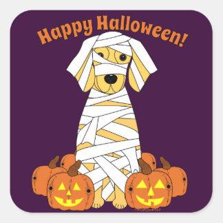 Happy Halloween Golden Retriever Mummy Stickers